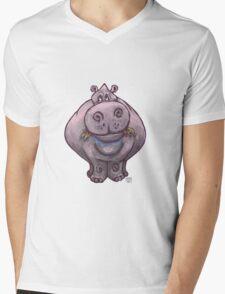 Animal Parade Hippopotamus Silhouette Mens V-Neck T-Shirt