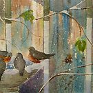 Robins & Thrush in Late Season Snow by Andrea Gabriel