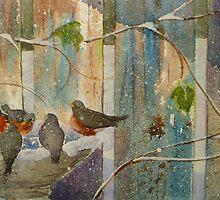 Robins & Thrush in Late Season Snow by Andrea Gabriel