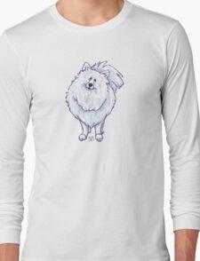 Animal Parade White Pomeranian Silhouette Long Sleeve T-Shirt