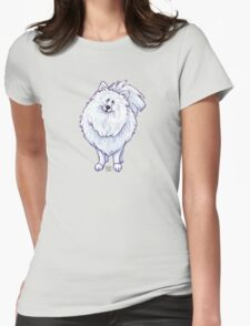 Animal Parade White Pomeranian Silhouette Womens Fitted T-Shirt