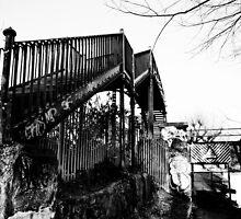 Footbridge over railway line, Bedford by Chris Hageman