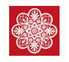 Victorian Ceiling Rose | Doily Pattern | Red & White Art Print