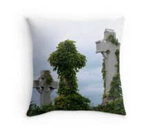 Vine covered head stone Throw Pillow