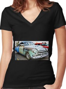 Classic American Hot Rod Women's Fitted V-Neck T-Shirt