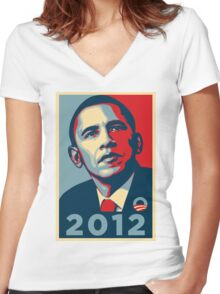 Obama 2012 Election Poster T-Shirt Women's Fitted V-Neck T-Shirt