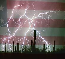 Lightning Storm in the USA Desert Flag Background by Bo Insogna