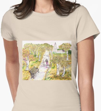 A stroll in autumn Womens Fitted T-Shirt