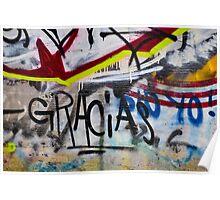 Abstract Graffiti Wall Art Photography - Gracias Poster