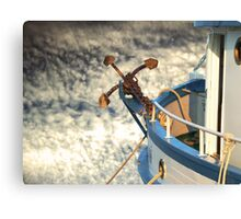 Boat with anchor in the sky Canvas Print