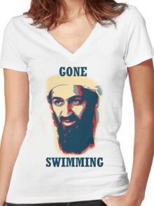 Gone Swimming! Women's Fitted V-Neck T-Shirt