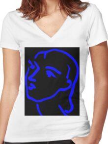 Matisse Ink Sketch (Black) Women's Fitted V-Neck T-Shirt