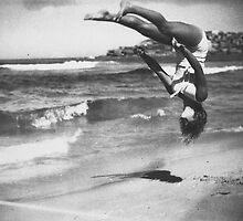 Peggy Bacon in mid-air backflip, Bondi Beach by madewithslnsw