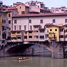 Rowers, River Arno, Ponte Vecchio, Florence, Italy by johnrf