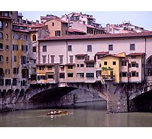 Rowers, River Arno, Ponte Vecchio, Florence, Italy Photographic Print