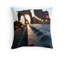Along the Brooklyn Bridge Throw Pillow