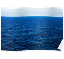 Sailboat, Two Whales Breaching, A Distant Oil Tanker and The Deep Blue Sea Poster