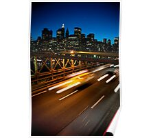 Brooklyn Bridge and Manhattan skyline at twilight Poster