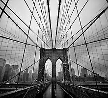 Rainy Brooklyn Bridge by Kalpesh Patel