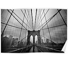 Rainy Brooklyn Bridge Poster
