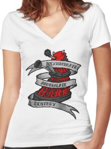 Red Dalek Women's Fitted V-Neck T-Shirt