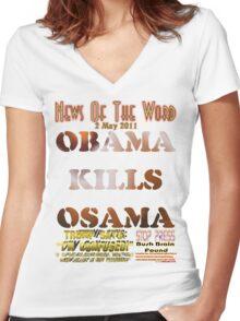 Obama Kills Osama T-shirt Design Women's Fitted V-Neck T-Shirt