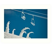Snow sculptures and frozen chairs Art Print