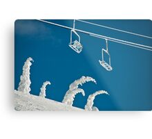 Snow sculptures and frozen chairs Metal Print