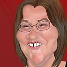 Caricature self-portrait by Sally O'Dell
