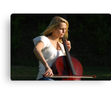 Jilly Playing the Chello Canvas Print