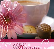 Birthday Card With Pink Flower Chocolates And Tea by Moonlake