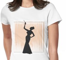 sexy girl silhouette with a cigar Womens Fitted T-Shirt