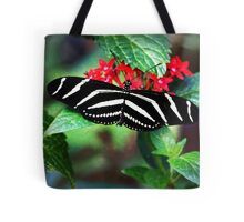 Zebra Longwing on Red Tote Bag