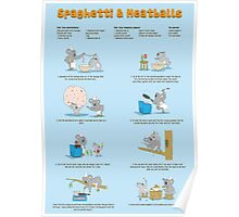 Spaghetti & Meatballs illustrated recipe Poster