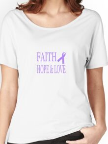 Faith Hope & Love All Cancers Lavender Ribbon  Women's Relaxed Fit T-Shirt