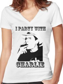 I Party With Charlie Women's Fitted V-Neck T-Shirt
