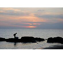 Fisherman at sunset. Vietnam Photographic Print