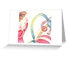"""backpack scary, illustration of the story """"backpack""""  Greeting Card"""