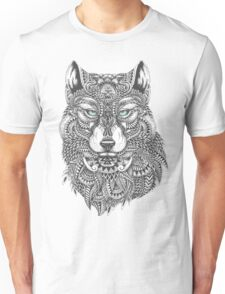 Very Intricate Wolf Illustration Unisex T-Shirt