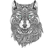 Very Intricate Wolf Illustration Photographic Print