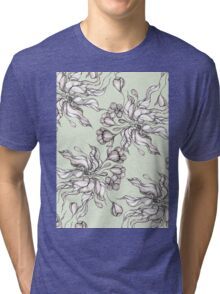 Vintage floral seamless pattern with hand drawn flowering crocus Tri-blend T-Shirt