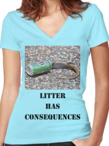 Litter has Consequences Women's Fitted V-Neck T-Shirt