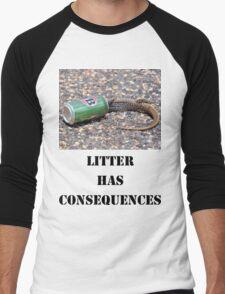 Litter has Consequences Men's Baseball ¾ T-Shirt