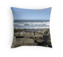 breaking waves - Filey Brigg Throw Pillow