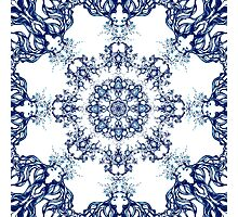 Blue Garden Mandala Photographic Print