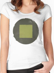 Golden Square on a Black Circle Women's Fitted Scoop T-Shirt