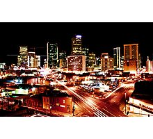 Denver Skyline at Night from Park Ave Photographic Print