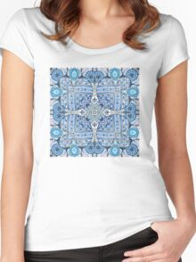 Blue flowers mandala  kaleidoscope Women's Fitted Scoop T-Shirt