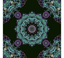 Abstract fantastic plant kaleidoscope mandala on dark green background Photographic Print
