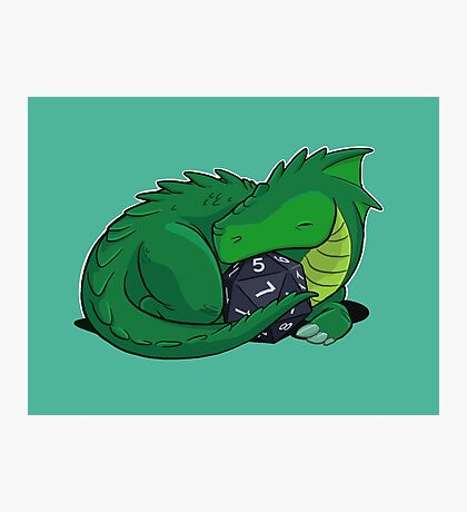 D20 Green Dragon Photographic Print